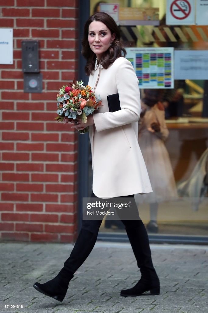 Catherine, Duchess of Cambridge leaving the Hornsey Road Children's Centre on November 14, 2017 in London, England.