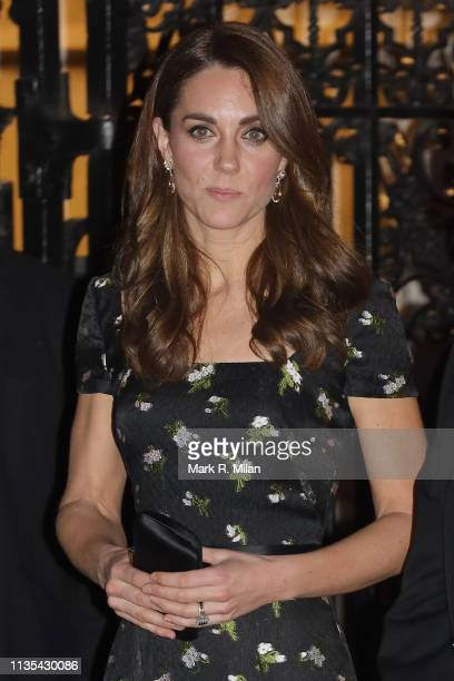 Catherine Duchess of Cambridge leaving the National Portrait Gallery gala on March 12 2019 in London England