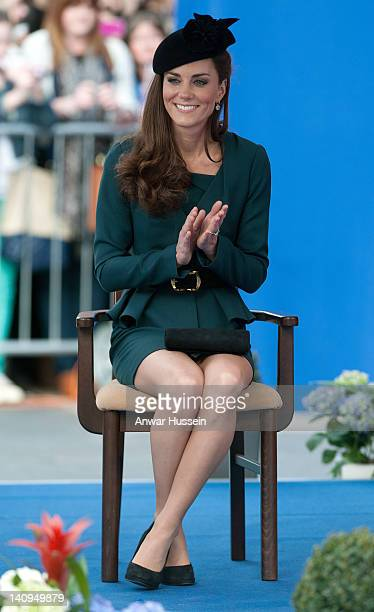 Catherine, Duchess of Cambridge listens to a welcome speech in the City Centre as she accompanies The Queen and the Duke of Edinburgh on a visit to...