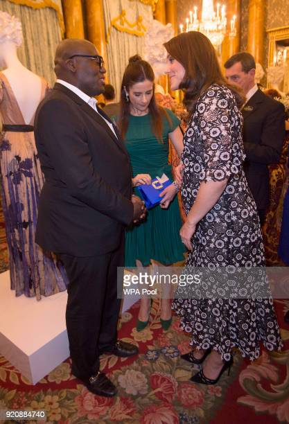 Catherine Duchess of Cambridge Livia Firth and Vogue Editor Edward Enninful attend The Commonwealth Fashion Exchange Reception at Buckingham Palace...