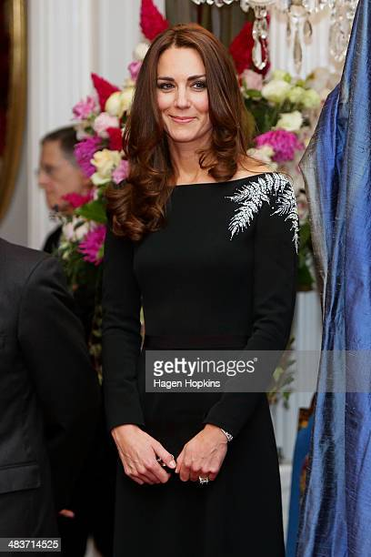 Catherine Duchess of Cambridge looks on during a state reception at Government House on April 10 2014 in Wellington New Zealand The Duke and Duchess...