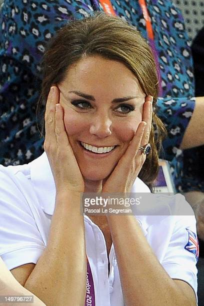 Catherine Duchess of Cambridge looks on during Day 6 of the London 2012 Olympic Games at Velodrome on August 2 2012 in London England