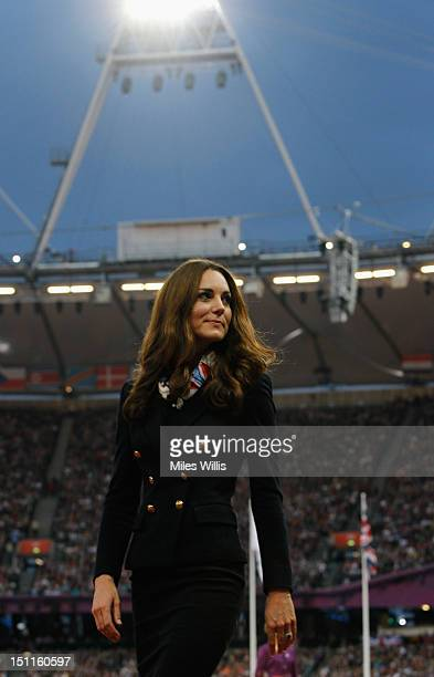 Catherine Duchess of Cambridge looks on during the medal ceremony for Men's Discus Throw F42 on day 4 of the London 2012 Paralympic Games at Olympic...