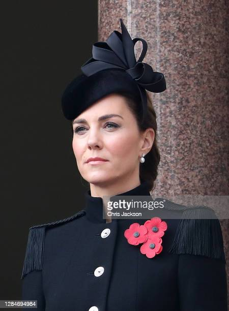 Catherine, Duchess of Cambridge looks on during the Service of Remembrance at the Cenotaph at The Cenotaph on November 08, 2020 in London, England....