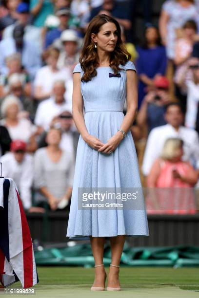 Catherine Duchess of Cambridge looks on during the trophy ceremony after the Men's Singles final against Roger Federer of Switzerland during Day...