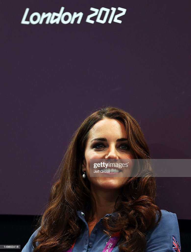 Catherine, Duchess of Cambridge looks on during the Women's Handball Preliminaries Group A match between Great Britain and Croatia on Day 9 of the London 2012 Olympic Games at the Copper Box on August 5, 2012 in London, England.