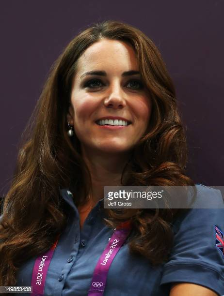 Catherine Duchess of Cambridge looks on during the Women's Handball Preliminaries Group A match between Great Britain and Croatia on Day 9 of the...