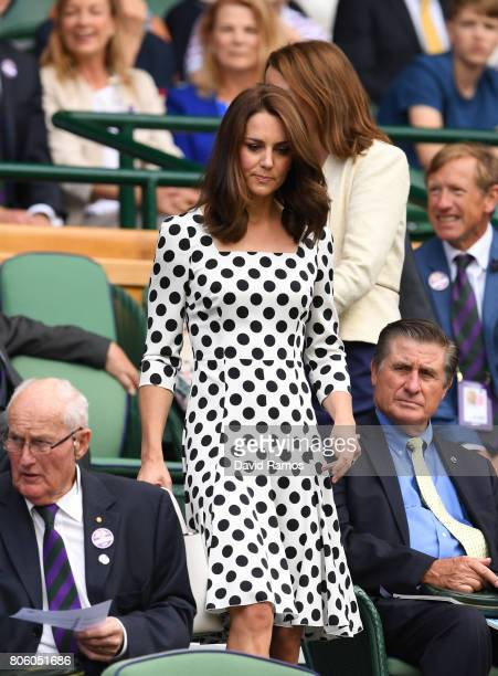 Catherine Duchess of Cambridge looks on from centre court on day one of the Wimbledon Lawn Tennis Championships at the All England Lawn Tennis and...