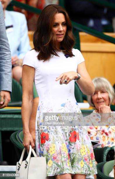 Catherine, Duchess of Cambridge looks on from the centre court royal box prior to the Gentlemen's Singles final between Roger Federer of Switzerland...