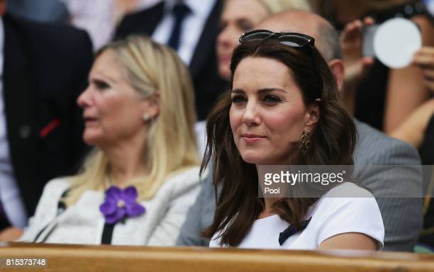 Catherine Duchess of Cambridge looks on from the centre court royal box prior to the Gentlemen's Singles final between Roger Federer of Switzerland...