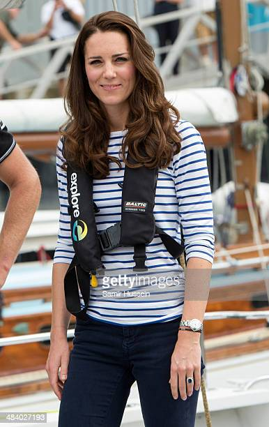 Catherine Duchess of Cambridge looks on onboard the New Zealand's Americas Cup Team yacht during their visit to Auckland Harbour on April 11 2014 in...