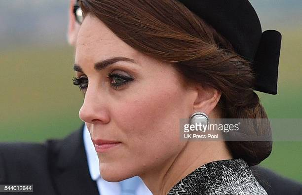 Catherine Duchess of Cambridge looks out from the top of The Commonwealth War Graves Commission Thiepval Memorial for the Commemoration of...