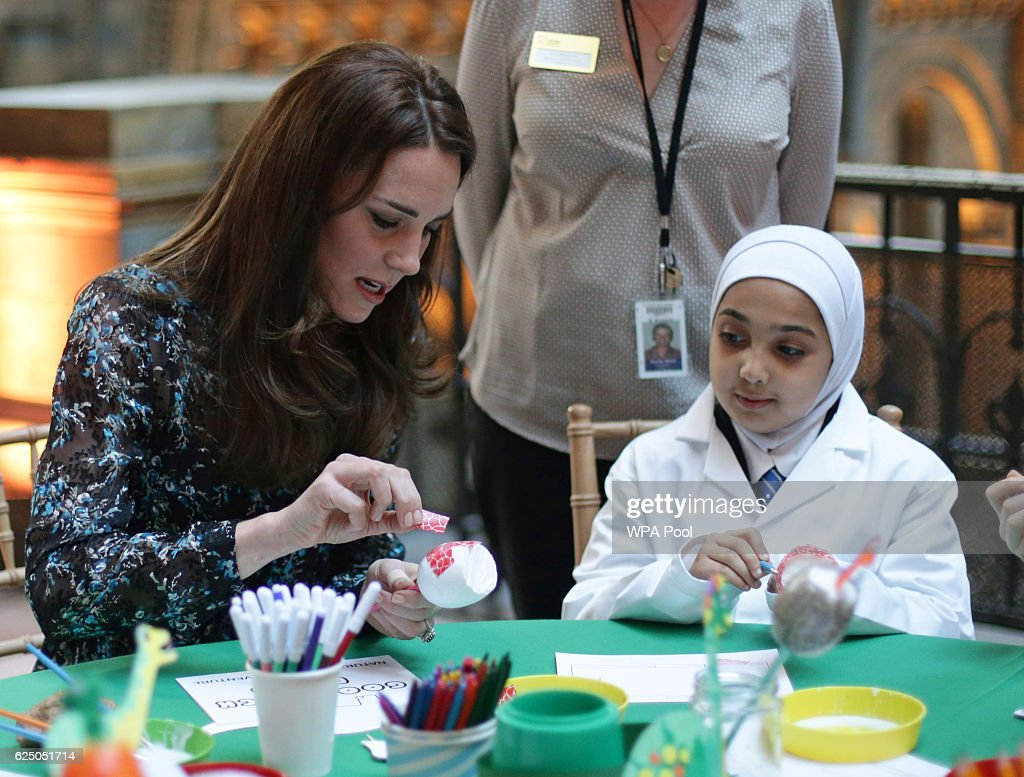 The Duchess Of Cambridge Attends A Tea Party In Honour Of 'Dippy' The Dinosaur At The Natural History Museum : News Photo