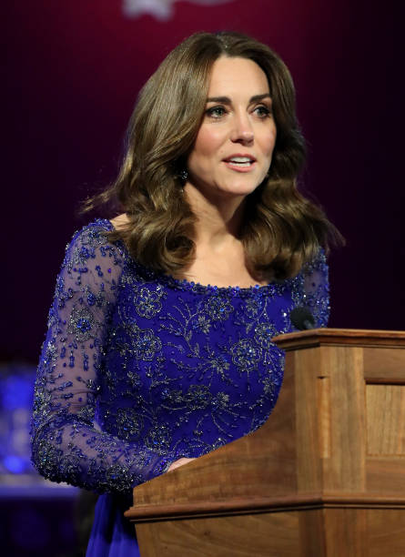 Catherine Duchess of Cambridge makes a speech as she hosts a Gala Dinner in celebration of the 25th anniversary of Place2Be at Buckingham Palace on...