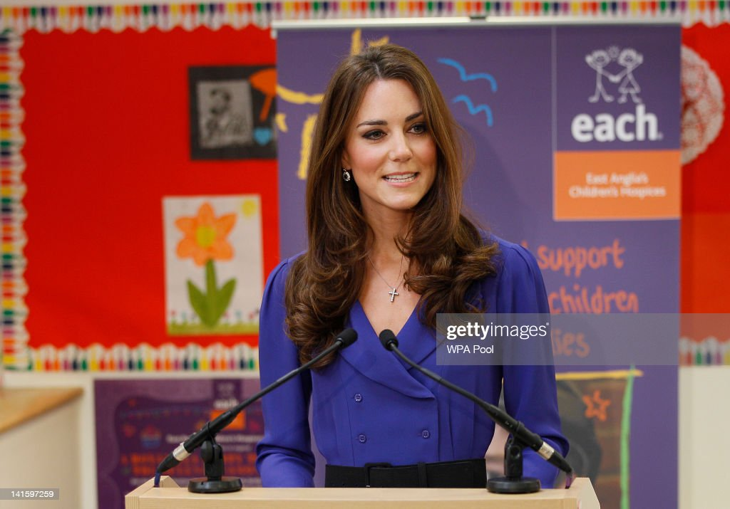 Catherine, Duchess Of Cambridge Visits The Treehouse Children's Centre : News Photo