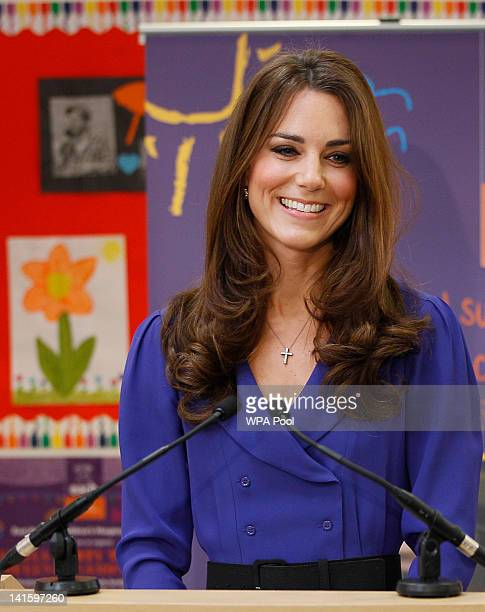 Catherine Duchess of Cambridge makes a speech during a visit to open The Treehouse Children's Hospice on March 19 2012 in Ipswich England