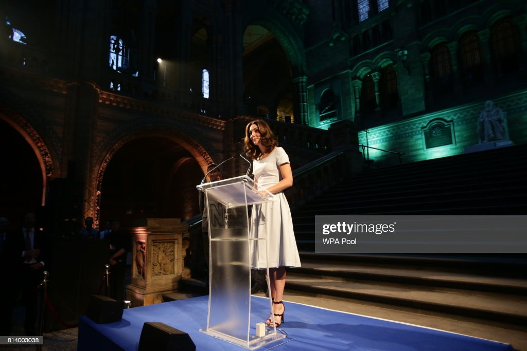 Catherine, Duchess of Cambridge makes a speech during the reopening of Hintze Hall at the Natural History Museum on July 13, 2017 in London, England..