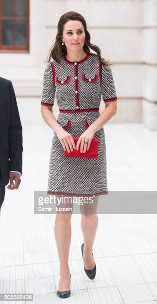 Catherine, Duchess of Cambridge makes an official visit to the new V&A exhibition road quarter at Victoria & Albert Museum on June 29, 2017 in...