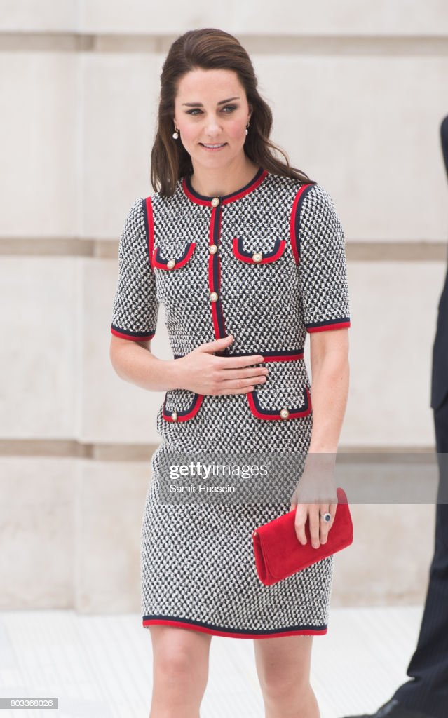 Catherine, Duchess of Cambridge makes an official visit to the new V&A exhibition road quarter at Victoria & Albert Museum on June 29, 2017 in London, England. The V&A Exhibition Road Quarter was designed by British Architect Amanda Levete.