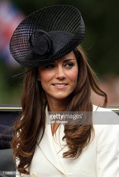 Catherine, Duchess of Cambridge makes her way down the Mall during the Trooping the Colour procession on June 11, 2011 in London, England. The...