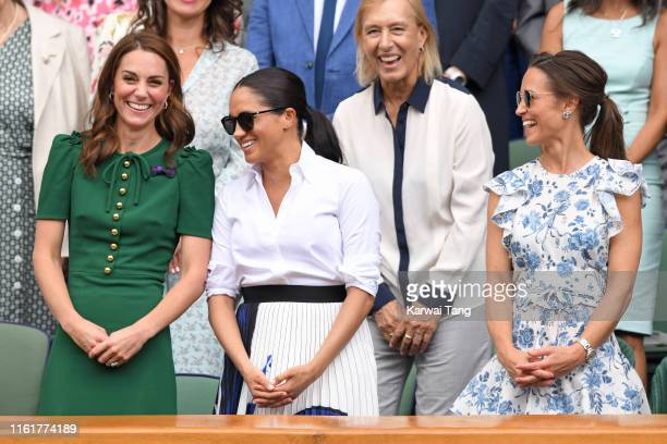 Catherine Duchess of Cambridge Martina Navratilova Meghan Duchess of Sussex and Pippa Middleton in the Royal Box on Centre Court during day twelve of...
