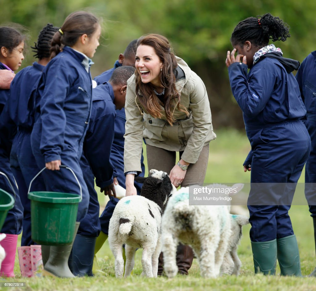 Catherine, Duchess of Cambridge meets a flock of sheep with their lambs as she visits Farms for City Children on May 3, 2017 in Arlingham, England. Farms for City Children is a charity which offers children in the UK a chance to live and work on a real farm for a week.
