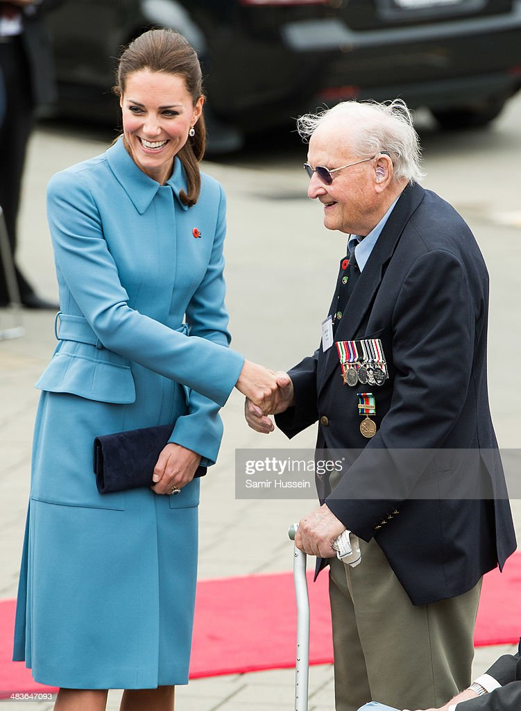 Catherine, Duchess of Cambridge meets a war veteran during a wreathlaying service at the War Memorial in Seymour Square on April 10, 2014 in Blenheim, New Zealand. The Duke and Duchess of Cambridge are on a three-week tour of Australia and New Zealand, the first official trip overseas with their son, Prince George of Cambridge.