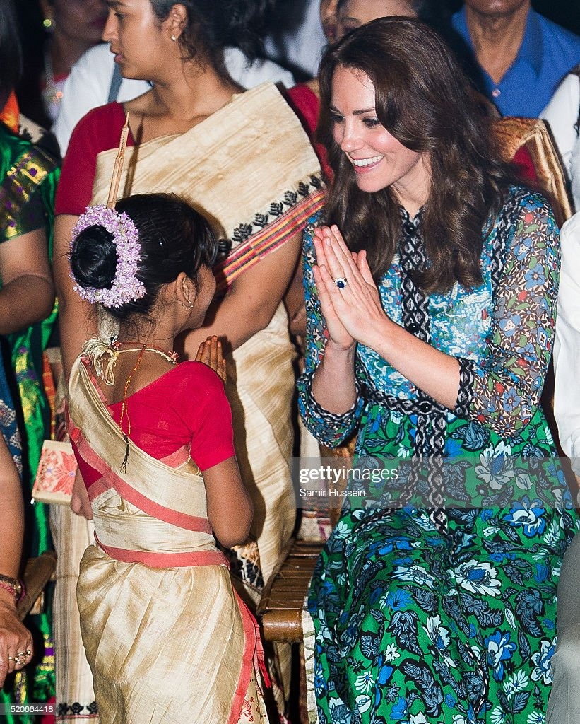 Catherine, Duchess of Cambridge meets a young dancer during a Bihu Festival Celebration at Diphlu River Lodge atKaziranga National Park on April 12, 2016 in Guwahati, India.