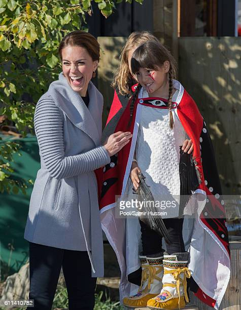 Catherine Duchess of Cambridge meets a young performer after watchig a cultural welcome on September 28 2016 in Carcross Canada