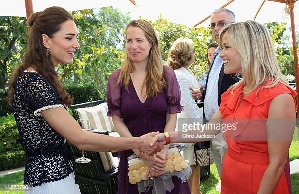Catherine Duchess of Cambridge meets actress Reese Witherspoon as she attends a reception to mark the Launch of Tusk Trust's US Patron's Circle on...