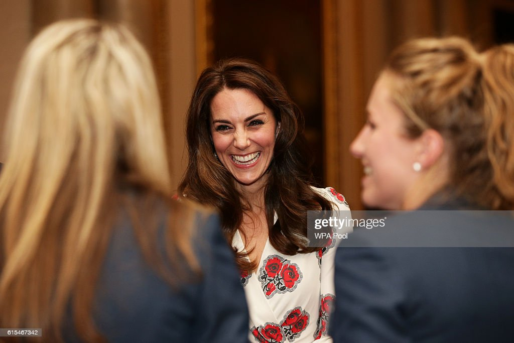 Catherine, Duchess of Cambridge meets athletes at a reception for Team GB's 2016 Olympic and Paralympic teams hosted by Queen Elizabeth II at Buckingham Palace October 18, 2016 in London, England.