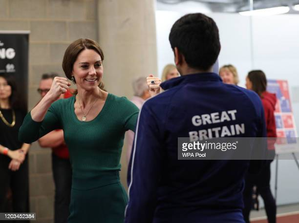 Catherine, Duchess of Cambridge meets athletes during a SportsAid Stars event at the London Stadium in Stratford on February 26, 2020 in London,...