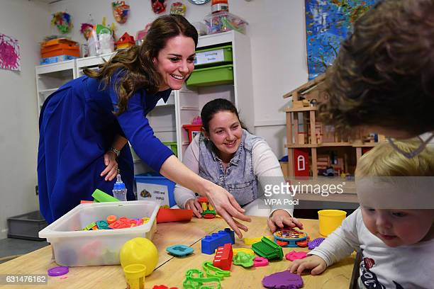 Catherine Duchess of Cambridge meets attendees at the Early Years Parenting Unit of the Anna Freud National Centre for Children and Families in north...