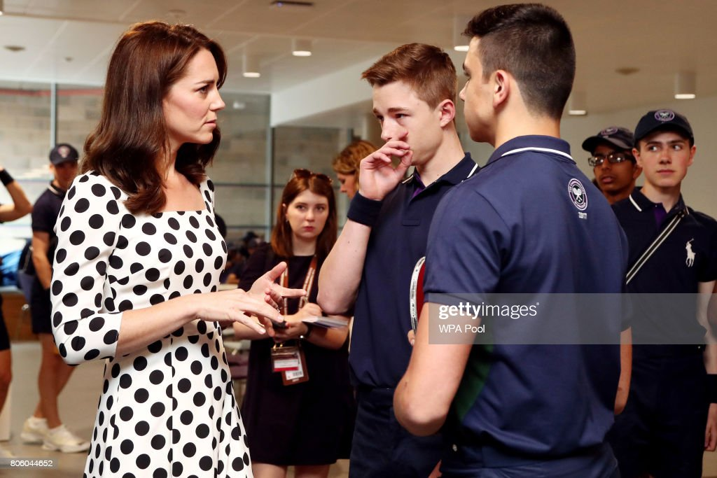 Catherine, Duchess of Cambridge meets ball boys and girls on day one of the Wimbledon Championships at The All England Lawn Tennis and Croquet Club, in Wimbledon on July 3, 2017 in London, England.