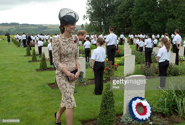 Catherine Duchess of Cambridge meets British and French school children during the Commemoration of the Centenary of the Battle of the Somme at the...