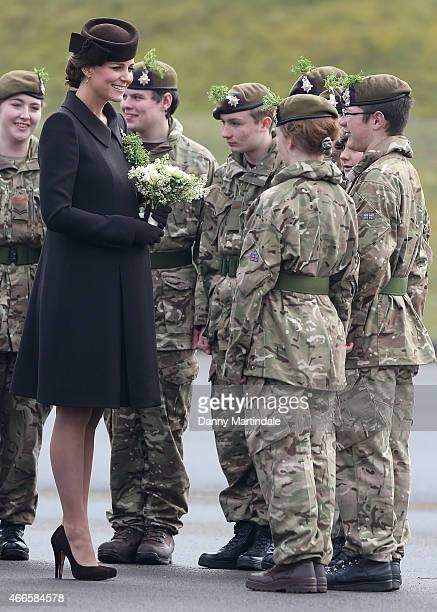 Catherine, Duchess of Cambridge meets cadets at the St Patrick's Day Parade at Mons Barracks on March 17, 2015 in Aldershot, England.