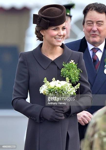 Catherine Duchess of Cambridge meets cadets during the St Patrick's Day Parade at Mons Barracks on March 17 2015 in Aldershot England