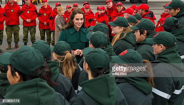 Catherine Duchess of Cambridge meets Canadian Rangers as she arrives at Whitehorse Airport on September 27 2016 in Whitehorse Canada Prince William...
