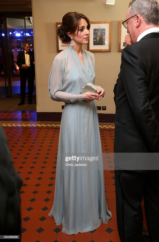 Catherine, Duchess of Cambridge meets charity representatives as she attends The Cinema and Television Benevolent Fund's Royal Film Performance 2015 of the 24th James Bond Adventure, 'Spectre' at Royal Albert Hall on October 26, 2015 in London, England.