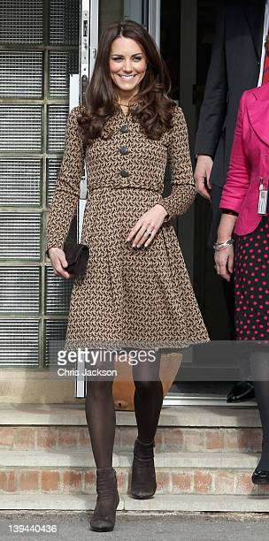 Catherine Duchess of Cambridge meets children as she leaves Rose Hill Primary School during a visit to Oxford on February 21 2012 in Oxford England...