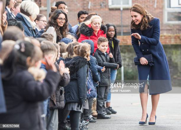 Catherine Duchess of Cambridge meets children as she visits the Reach Academy with Place2Be on January 10 2018 in London England The Duchess of...
