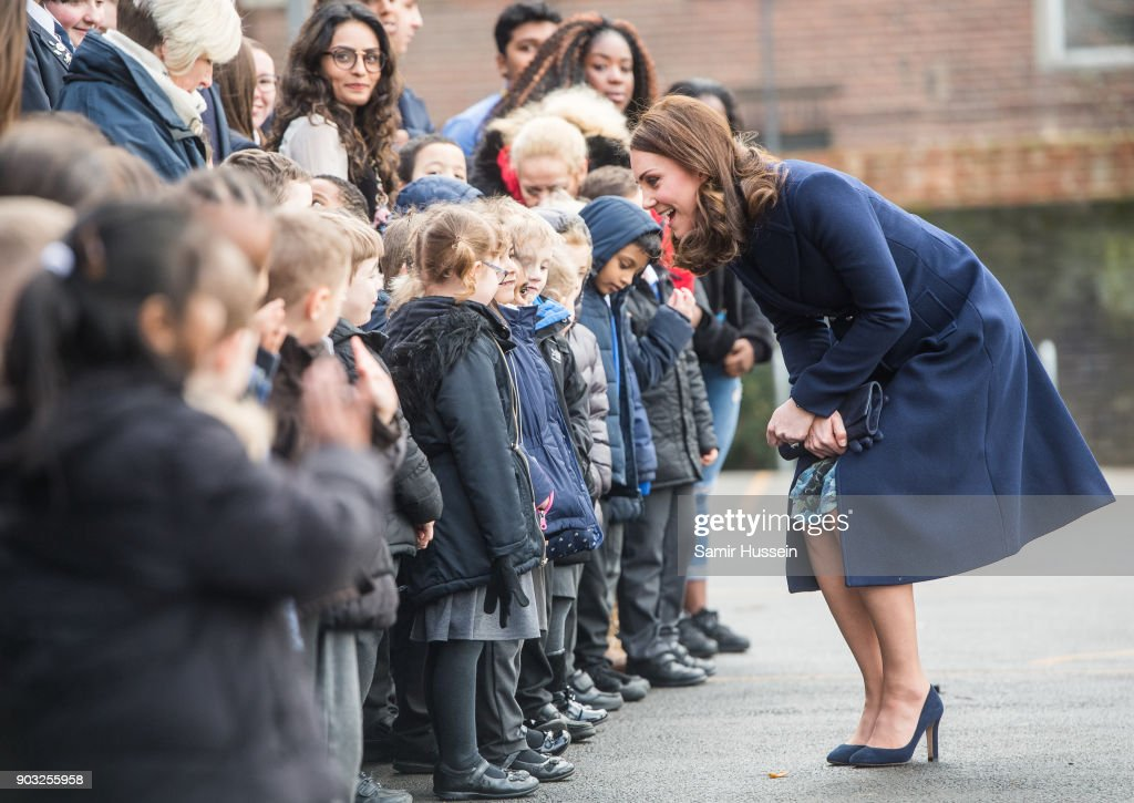 Catherine, Duchess of Cambridge meets children as she visits the Reach Academy with Place2Be on January 10, 2018 in London, England. The Duchess of Cambridge has been patron of Place2Be since 2013, reflecting her interest in children's mental health and the importance of supporting children and families to give children the best possible start in life.