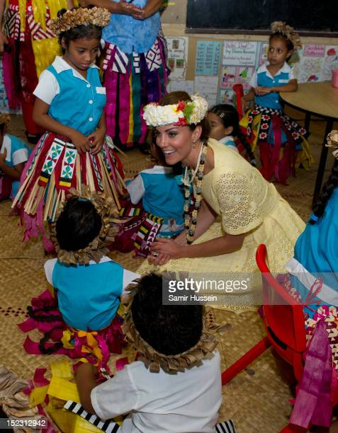 Catherine, Duchess of Cambridge meets children at Nauti Primary School during the Royal couple's Diamond Jubilee tour of the Far East on September...
