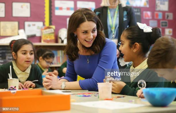 Catherine Duchess of Cambridge meets children teachers and other stakeholders as she launches a mental health programme for schools the latest...