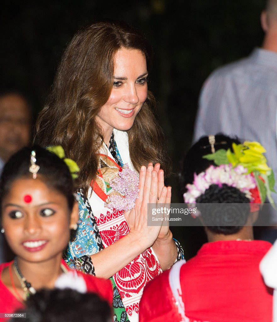 Catherine, Duchess of Cambridge meets dancers during a Bihu Festival Celebration at Diphlu River Lodge atKaziranga National Park on April 12, 2016 in Guwahati, India.