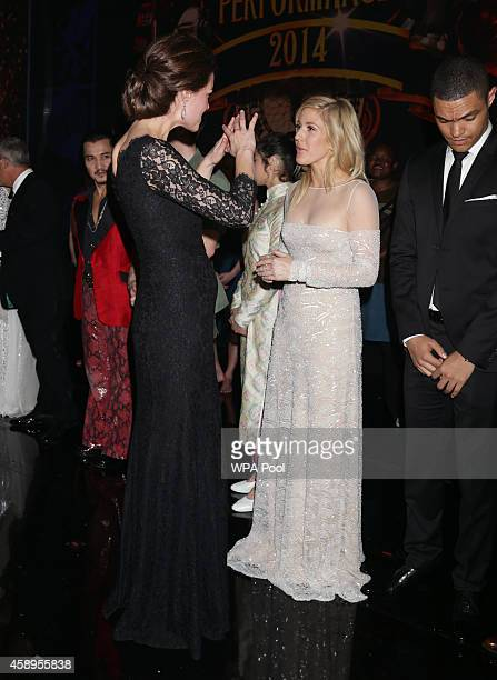 Catherine Duchess of Cambridge meets Ellie Goulding at the end of The Royal Variety Performance at the London Palladium on November 13 2014 in London...