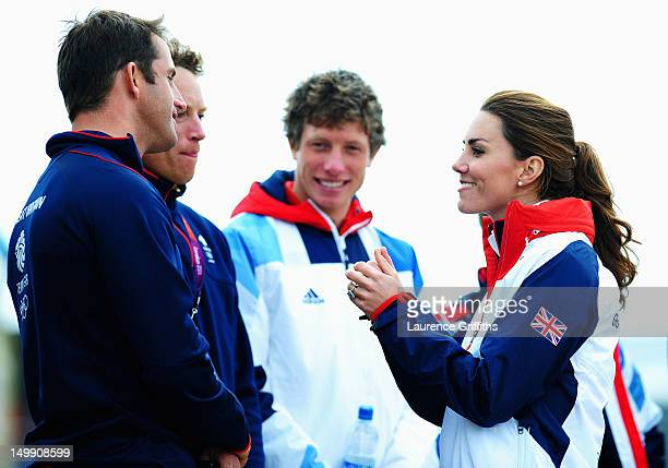 Catherine Duchess of Cambridge meets Finn class gold medal winner Ben Ainslie of Great Britain on Day 10 of the London 2012 Olympic Games at the...