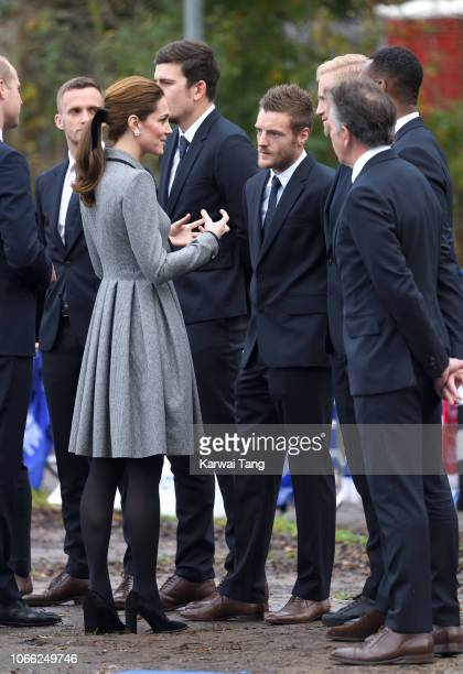 Catherine Duchess of Cambridge meets Jamie Vardy at Leicester City Football Club to pay tribute to those who were tragically killed in the helicopter...