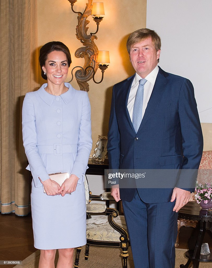 Catherine, Duchess of Cambridge meets King Willem Alexander of the Netherlands at Villa Eikenhorst on October 11, 2016 in The Hague, Netherlands.