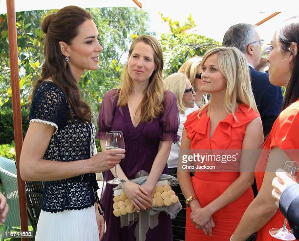 Catherine Duchess of Cambridge meets Kristin Gore Reese Witherspoon and Jessica De Rothschild as she attends a reception to mark the Launch of Tusk...